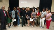 Carrie Pettus-Davis delivers a talk to students at the Florida Agricultural and Mechanical University