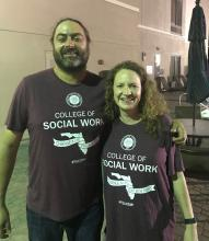 Carrie Pettus-Davis and Stephen Tripodi sporting their support for FSU's College of Social Work